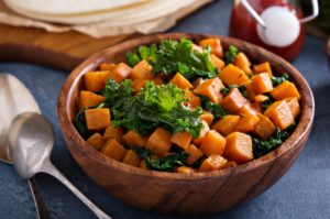 Oven Roasted Kale and Sweet Potato