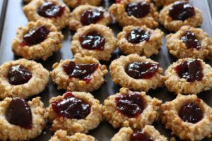 Raspberry and Almond Thumbprint Cookies