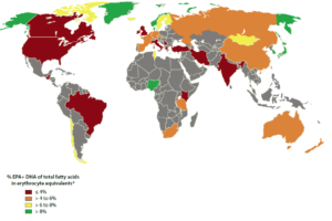 Figure 1. Global map of omega-3 levels in the blood stream of healthy adults. Based on reference 3.