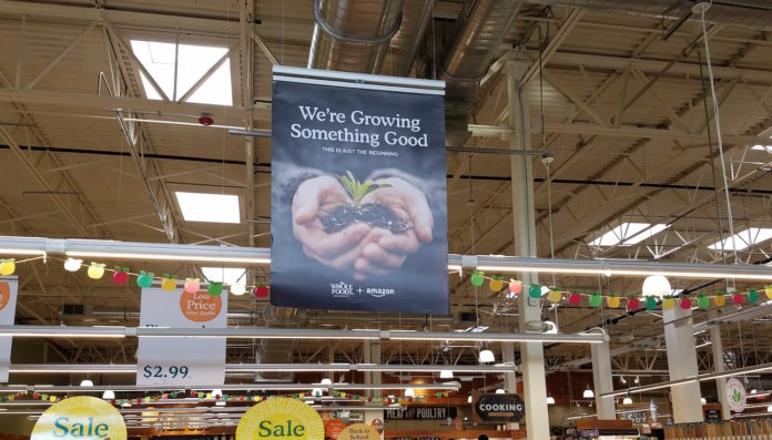 Whole Foods + Amazon signage