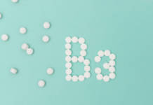 Vitamin B3 pills forming the word 'B3' over turquoise background