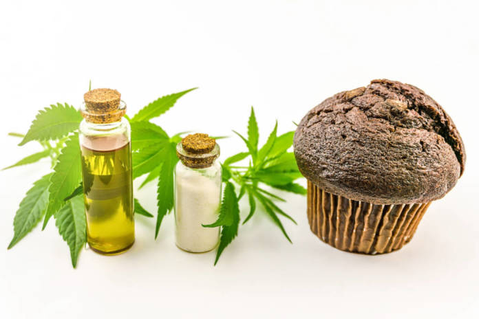Cannabis cupcake muffin with CBD Crystals isolate CBD oil and hemp leaves isolated on white