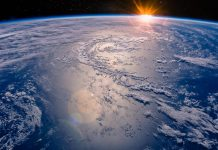 High altitude view of the Earth in space. Elements of this image furnished by NASA.