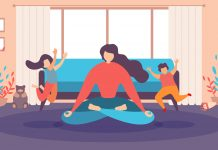 Mother Meditating at Home, Woman Doing Relaxing Exercises in Living Room, Practicing Yoga While Haughty, Noisy Children Running around Flat Vector Illustration. Calm Parent, Balance and Stress Relief