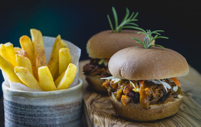 Shredded jack-fruit BBQ sandwiches with French fries