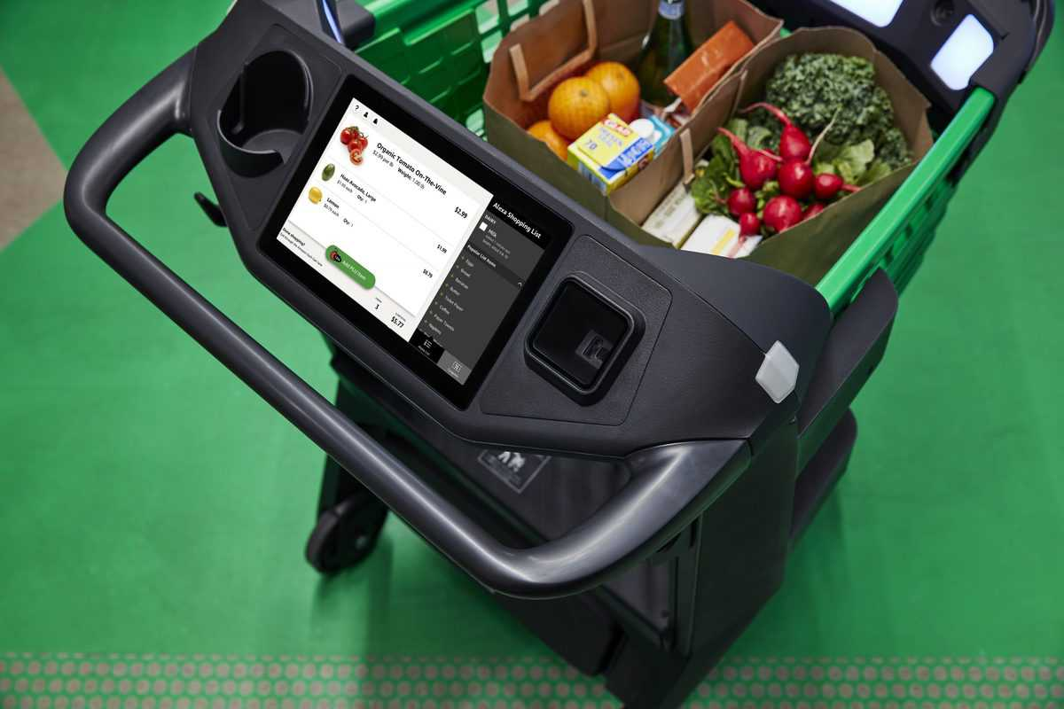 Start ID: Image is a top-down of a Dash Cart, a hand basket-sized green cart with a black handle. Facing the handle, and therefore the user of the cart, is a screen, displaying various groceries inside the cart--radishes, broccoli, oranges. The cart contains two paper bags of produce and packaged goods; there's no space left in the cart, short of piling more food on top of the two bags. The cart is standing on a green floor. End ID.