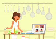 Online cooking masterclass, vector flat illustration. Young woman chef preparing food in kitchen in front of laptop computer audience. Online culinary school, distance learning courses in cookery.