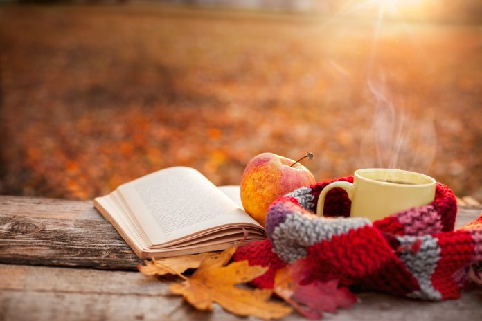Tea mug with warm scarf open book and apple on wooden surface