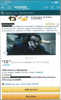 "Image ID: Small image of an Amazon listing for ""Keto Diet Pills That Work--Weight Loss Supplement to Burn Fat Fast--Boost Energy and Metabolism--Best Ketosis Supplement for Women and Men--Nature Driven--60 Capsules."" The picture of the product has been replaced with a picture of the Joker from one of the Batman movies. End ID."
