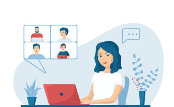 Happy young woman talking to colleagues using a video call. Concept of online conference from home. Remote work from home during quarantine. Vector illustration in a flat cartoon style.