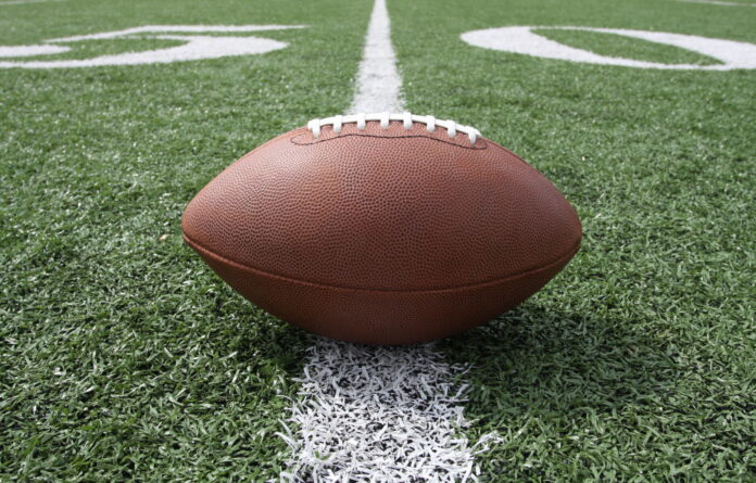 Football centered on the fifty yardline