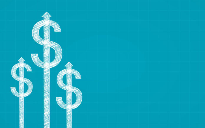 Abstract financial chart with dollar sign and arrow in chalk Scribble design on blue color background
